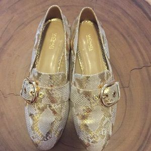 Worn once, gold snakeskin loafer flats